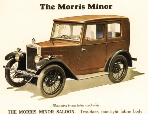 19290101 Advert Morris Minor Saloon Fabric Body 1929 Season - Note brown colour, most come in blue & black.
