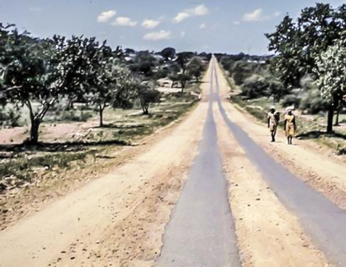 19530101 Touring - Typical Strip Road Mrs Lang would have driven to Kitwe Northern Rhodesia