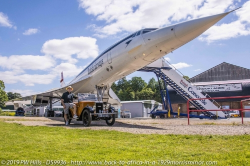 20190701 Peter Hills with DS9936 1929 Morris Minor & Concord at Brooklands England PH4_9727